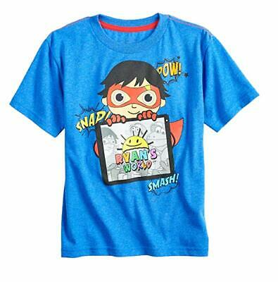 Ryan's World Toys Review Boys Graphic Tee Children Top Blue Kids Fun T-Shirt