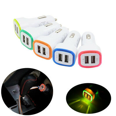 LED Dual USB Car Charger 2 Port Adapter Cigarette Socket Lighter For PC Phone US