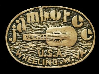 NE21168 VINTAGE 1970s **JAMBOREE U.S.A.** BOY SCOUTS SOLID BRASS BELT BUCKLE