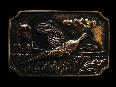ND23101 VINTAGE 1970s BTS **PHEASANT FLYING OVER FIELD** SOLID BRASS BELT BUCKLE