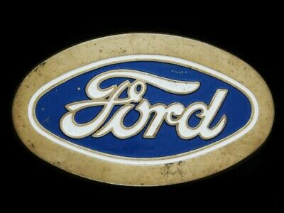 NF07117 VINTAGE 1970s **FORD** MOTOR COMPANY LOGO SOLID BRASS CAR BELT BUCKLE