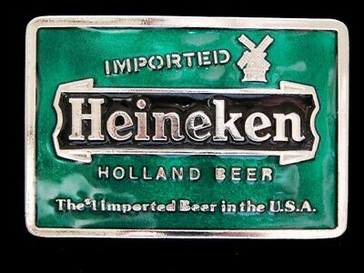 NF11129 *NOS* VINTAGE 1970s **HEINEKEN HOLLAND BEER** BOOZE BELT BUCKLE