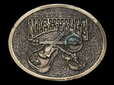 NE13146 VINTAGE 1970s **NASHVILLE** (GUITAR, BANJO, FIDDLE) MUSIC BELT BUCKLE
