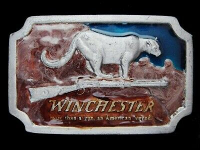 Ne23171 Vintage 1976 **Winchester** Rifle & Gun Pewter Imc Belt Buckle