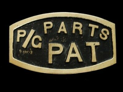 NF13153N VINTAGE 1970s **P/G PARTS PAT** BRUSHED SOLID BRASS BELT BUCKLE