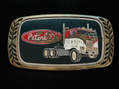 Ng23106 Vintage 1980 **Peterbilt** Truck Company Solid Brass Aminco Belt Buckle