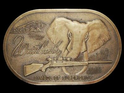 NF06153 AMAZING 1970s VINTAGE ***WEATHERBY*** BIG GAME RIFLE SOLID BRASS BUCKLE