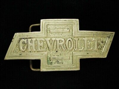 NG03126 VINTAGE 1970s **CHEVROLET** CAR COMPANY SOLID BRASS BARON BELT BUCKLE