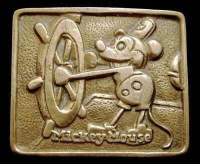 NE10166 RARE! VINTAGE 1970s **MICKEY MOUSE** STEAMBOAT WILLIE SOLID BRASS BUCKLE