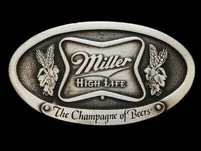 Nf27170 *Nos* Vintage 1975 **Miller High Life The Champagne Of Beers** Buckle