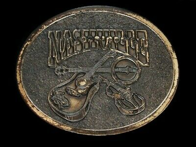 NF17148 VINTAGE 1970s **NASHVILLE (GUITAR, FIDDLE, & BANJO)** MUSIC BELT BUCKLE