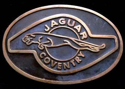 NE06148 *NOS* VINTAGE EARLY 1970s UB **JAGUAR** COVENTRY LOGO SOLID BRASS BUCKLE