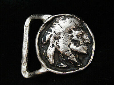 NH05140 *NOS* VINTAGE 1970s *INDIAN HEAD ARTWORK* SILVERTONE SOLID BRASS BUCKLE