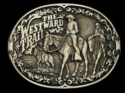 NF11120 *NOS* VINTAGE 1980s **THE WESTWARD TRAIL** OLD WEST SOLID BRASS BUCKLE