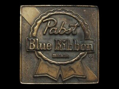 NE03159 VINTAGE 1970s *PABST BLUE RIBBON BEER* BOOZE INDIANA METAL CRAFT BUCKLE