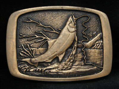 Ne11150 Vintage 1981 *Trout Fish Hooked On Bait* Solid Brass Fishing Bts Buckle