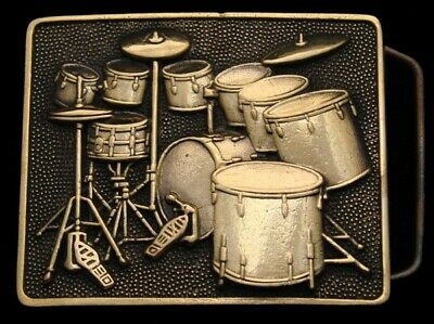 Nh06156 *Nos* Awesome Vintage 1980 **Full Drum Kit** Drum Set Solid Brass Buckle