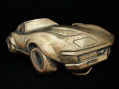 NH11119 VINTAGE 1970s CUT-OUT **CORVETTE** SPORTS CAR SOLID BRASS BARON BUCKLE
