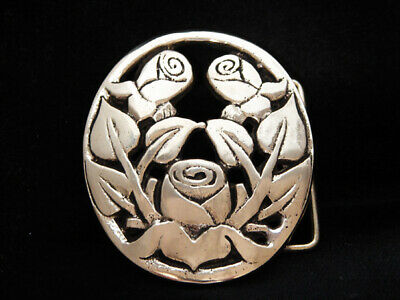 NG23103 VINTAGE 1970s **BUNCH OF FLOWERS** ART SOLID BRASS BARON BELT BUCKLE