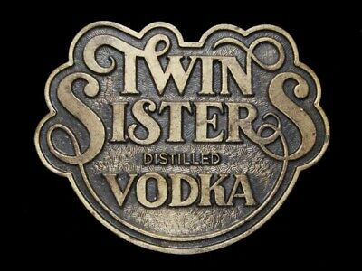 NE21163 VINTAGE 1970s **TWIN SISTERS DISTILLED VODKA** BOOZE BRASSTONE BUCKLE
