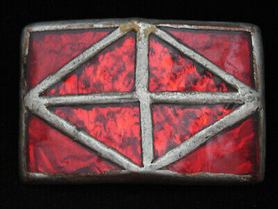 NH05152 VINTAGE 1970s **STAINED GLASS ART PANELS** SOLID BRASS BELT BUCKLE