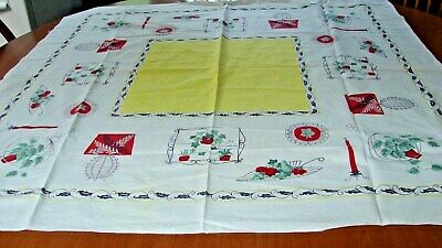 Mid Century Vintage Ivy Christmas Candles Lamps Cotton Print Tablecloth