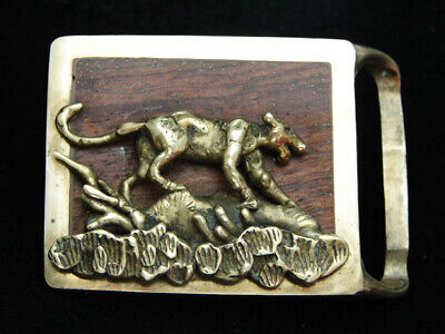 OB01170 VINTAGE 1970s **MOUNTAIN LION** WOOD INLAY SOLID BRASS ART BELT BUCKLE