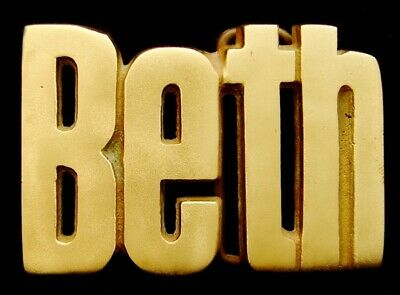 OA30167 *NOS* VINTAGE 1970s CUT-OUT NAME ***BETH*** SOLID BRASS BUCKLE