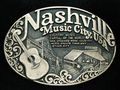 OA23124 VINTAGE 1970s **NASHVILLE MUSIC CITY, USA** SOLID BRASS BELT BUCKLE