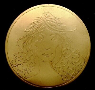 OA30149 *NOS* VINTAGE 1970s **LADYS FACE** ROUND SOLID BRASS ART/ FASHION BUCKLE