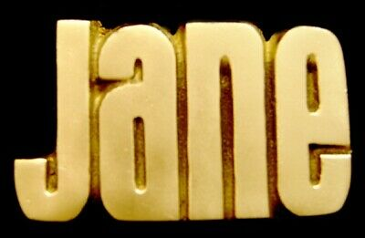 OA30173 *NOS* VINTAGE 1970s CUT-OUT NAME ***JANE*** SOLID BRASS BUCKLE