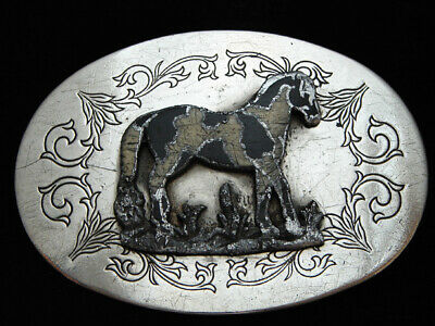 OA25116 VINTAGE 1970s **PAINT/PINTO HORSE** NICKEL SILVER FRONTIER BELT BUCKLE