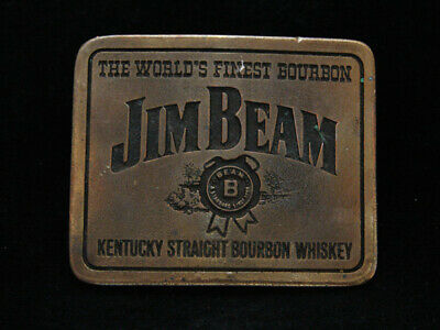 OA09158 VINTAGE 1970s **JIM BEAM THE WORLD'S FINEST BOURBON** BOOZE BELT BUCKLE