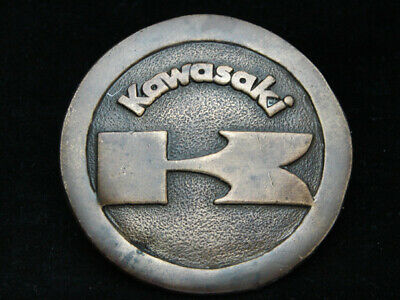 OA23119 VINTAGE 1970s **KAWASAKI** MOTORCYCLES INDIANA METAL CRAFT BELT BUCKLE