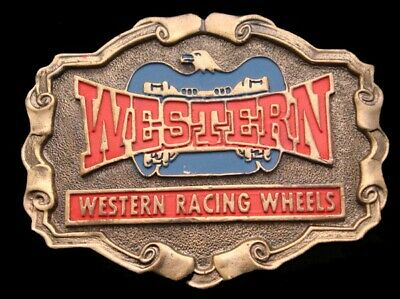 OC02166 GREAT VINTAGE 1970s ***WESTERN RACING WHEELS*** DRAG RACING BELT BUCKLE