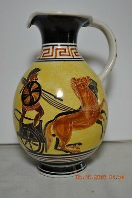 Vintage Hand Pained Greek Greece Kutahia Athens Chariot Pitcher