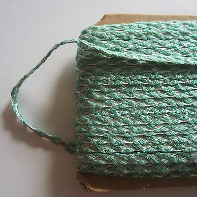 200cm Green & White Vintage Cotton Braid 1950s Woven Sewing Craft Trim Millinery