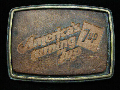 OC25128 VINTAGE 1970s **AMERICA'S TURNING 7UP** SODA FOUNTAIN LEATHER BUCKLE