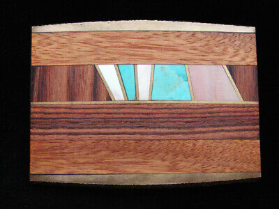 OC23172 VINTAGE 1970s **INLAID WOOD & STONE ABSTRACT ART** SOLID BRASS BUCKLE
