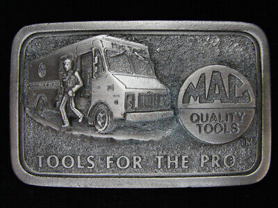 OE05133 *NOS* VINTAGE 1970s **MAC QUALITY TOOLS FOR THE PRO** PEWTER BELT BUCKLE