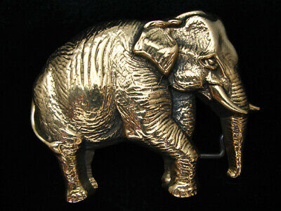Oe01162 *Nos* Vintage 1978 Cut-Out **Elephant** Solid Brass Baron Belt Buckle