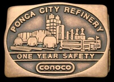 Oc26160 Great 1982 ***Conoco*** Ponca City Refinery Solid Brass Oil & Gas Buckle