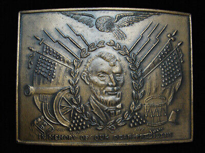 OC25132 *NOS* VINTAGE 1970s **IN MEMORY OF OUR DEAR PRESIDENT (LINCOLN)** BUCKLE