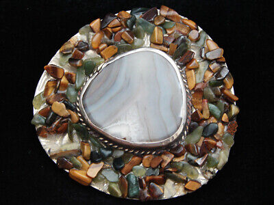 OF01160 VINTAGE 1970s **MULIT-COLOR AGATE STONE & TIGER EYE CHIPS** BELT BUCKLE