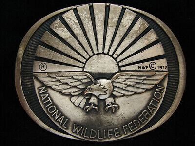 OE01146 VINTAGE 1980s **NATIONAL WILDLIFE FEDERATION** SOLID BRASS BELT BUCKLE