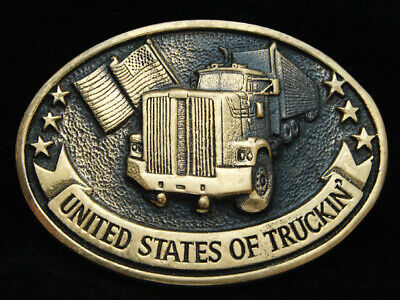 OD11141 VINTAGE 1970s **UNITED STATES OF TRUCKIN'** SOLID BRASS BELT BUCKLE