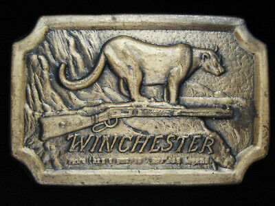 OD03142 VINTAGE 1970s **WINCHESTER** RIFLE GUN FIREARM BRASSTONE BELT BUCKLE