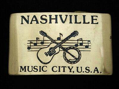 OD01151 VINTAGE 1970s **NASHVILLE MUSIC CITY, U.S.A.** SOLID BRASS BELT BUCKLE