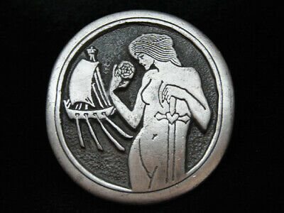 OG09151 VINTAGE 1970s **AUBREY BEARDSLEY ARTWORK** INDIANA METAL CRAFT BUCKLE