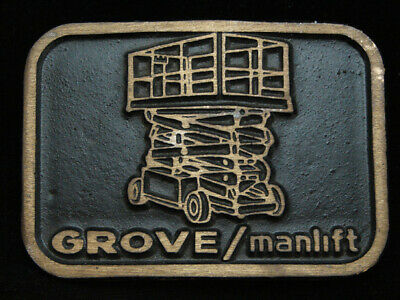 OF03128 VINTAGE 1970s **GROVE/MANLIFT** COMPANY SOLID BRASS BELT BUCKLE